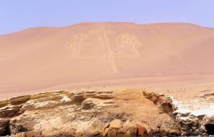 An ancient figure etched in the mountain at the National Reserve of Paracas.