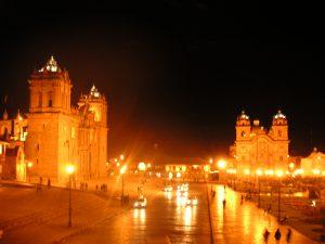 Plaza de Armas, Cusco, as seen from a second story restaurant window.