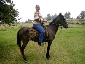 Sra. Schwarz preparing to go horseback riding at the Casa Hacienda San José.
