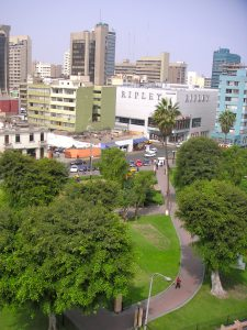 View of Parque Kennedy and the city from our classroom in Miraflores.