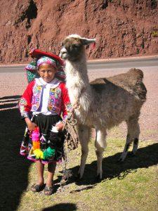 A Peruvian girl and her llama in Taray, Cusco.