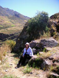 Sra. Schwarz taking a break from the hike to the Písac Inca Ruins, Písac, Cusco.