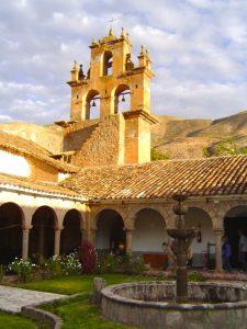 The courtyard at the San Agustín Hotel Monasterio de la Recoleta, Urubamba, Cusco.