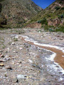 Starting to see salt along the trail to the Salt Mines of Maras (Salinas de Maras), Cusco.