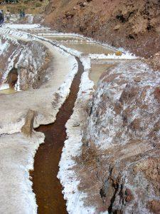 The very narrow trail through the Salt Mines of Maras (Salinas de Maras), Cusco.