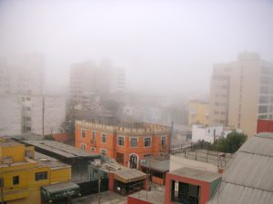 (3 hours later) Miraflores from the Hotel María Angola. The mist, called neblina, is common in Lima.