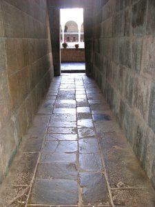 A corridor inside the temple of Qorikancha, Convento de Santo Domingo, Cusco.