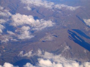 Aerial view of the Andes Mountains on our flight from Lima to Cusco.