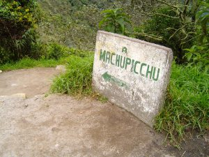 Day 4: A sign for Machu Picchu.