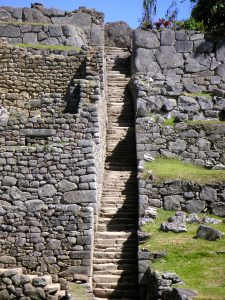 Staircase at the Machu Picchu Inca Ruins in Perú.