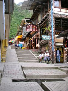 The tourist area in Aguas Calientes, Perú.