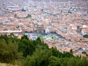 View of the Plaza de Armas from the Sacsayhuaman Inca Ruins, Cusco.