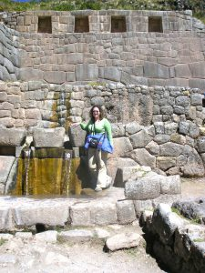 Sra. Schwarz at the Tambomachay Inca Ruins, Cusco.