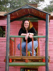 Sra. Schwarz in the playhouse at the Hotel-Hacienda Ocucaje, Ica.